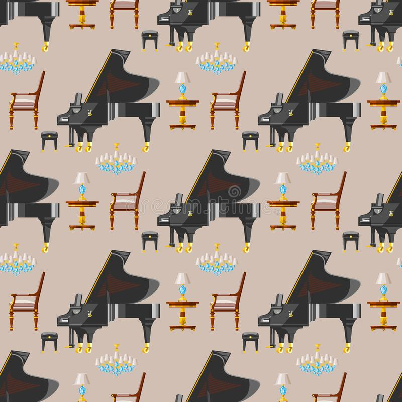 Van de het instrumenten klassieke musicus van de toetsenbordpiano muzikale van het het materiaal naadloze patroon vectorillustrat stock illustratie
