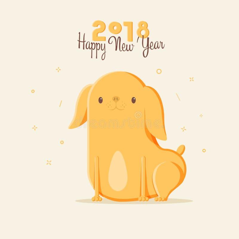 van de het jaardierenriem van 2018 de gelukkige nieuwe dierlijke hond met leuke kinderen Hand getrokken illustraties Vectorkrabbe vector illustratie