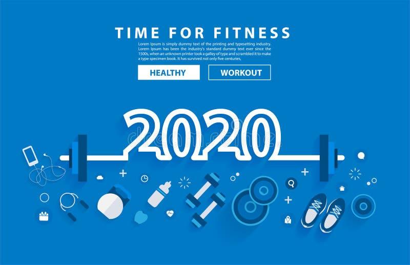 van de het jaargeschiktheid van 2020 het nieuwe van de het conceptentraining ontwerp van het de typografiealfabet royalty-vrije illustratie