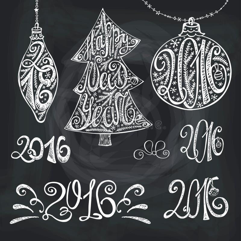 van de het jaartypografie van 2016 de getrokken titels hand Krijt stock illustratie