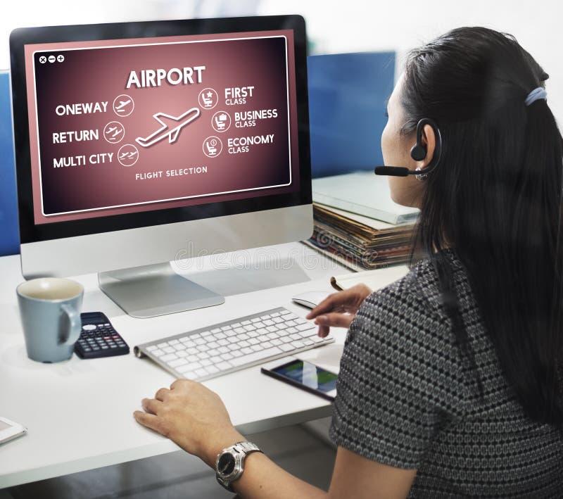 Van de het Kaartjesselectie van de luchthavenvlucht het Vervoersconcept stock afbeeldingen