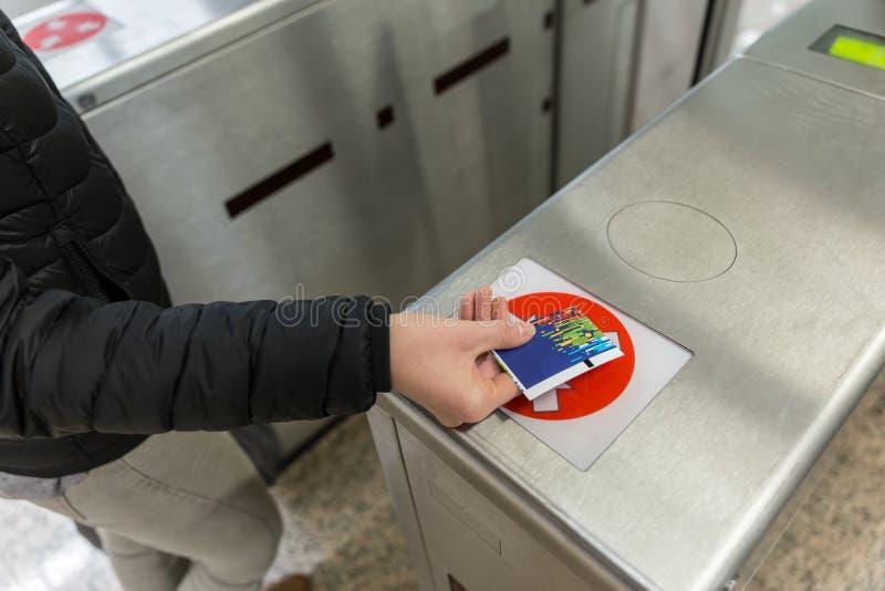 Van de het Kaartjestoegang van de ingangspoort van de de Aanrakingstechnologie de Metropost royalty-vrije stock afbeeldingen