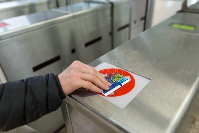 Van de het Kaartjestoegang van de ingangspoort van de de Aanrakingstechnologie de Metropost royalty-vrije stock afbeelding
