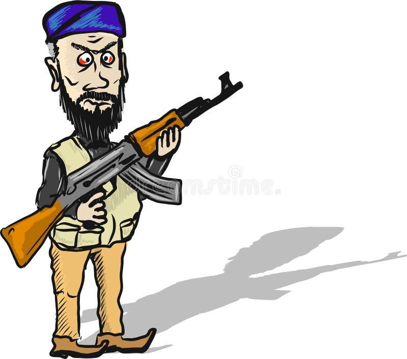 Van de het karakter vectorillustratie van het terroristenbeeldverhaal de schets klem-kunst stock illustratie