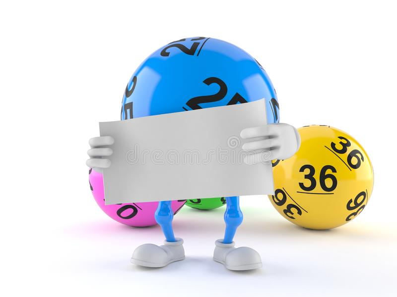 Van de het karakterholding van de lottobal het lege blad van document royalty-vrije illustratie