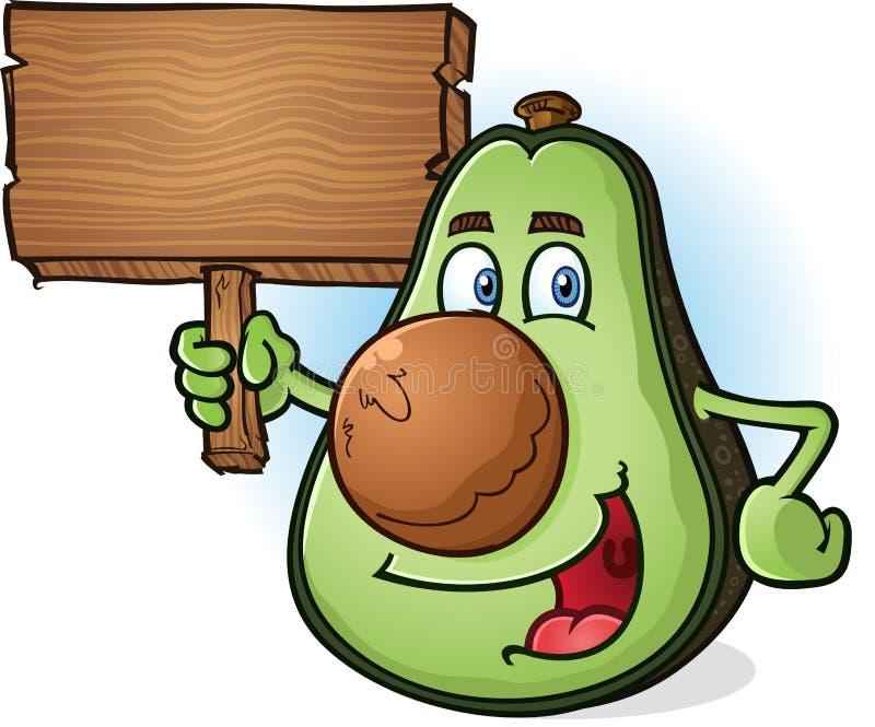 Van de het Karakterholding van het avocadobeeldverhaal het Houten Teken vector illustratie