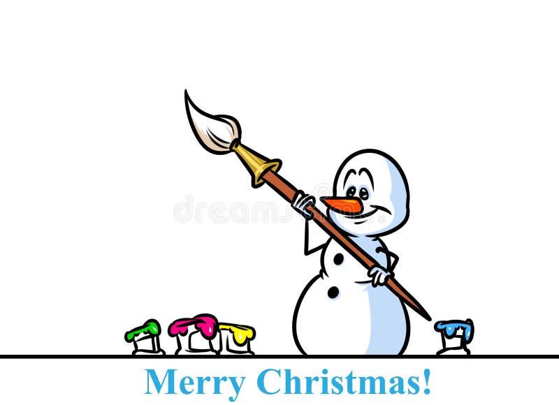 Van de het karakterkunstenaar van de Kerstmissneeuwman het beeldverhaal van de de verfborstel stock illustratie