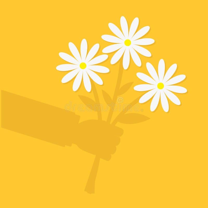 Van de het karakterschaduw van het zakenmanbeeldverhaal van de de handholding de bosboeket van margrietbloemen De kaart van de gr vector illustratie