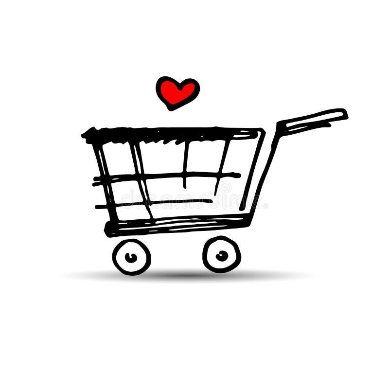 Van de het karretjemarkt van de karmand van het de winkelproduct de opslag van de de verkoopaankoop vector illustratie