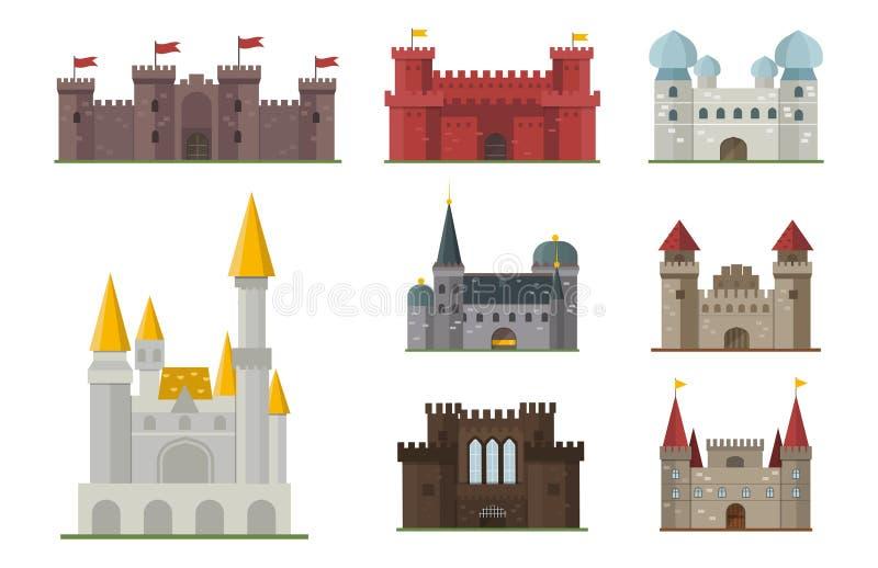 Van de het kasteeltoren van het beeldverhaalsprookje van de het pictogram leuk architectuur middeleeuws de fantasiehuis fairytale stock illustratie