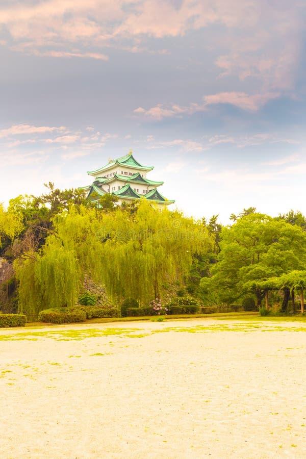Van de het Kasteelzonsondergang van Nagoya de Hemelavond boven Bomen V stock foto