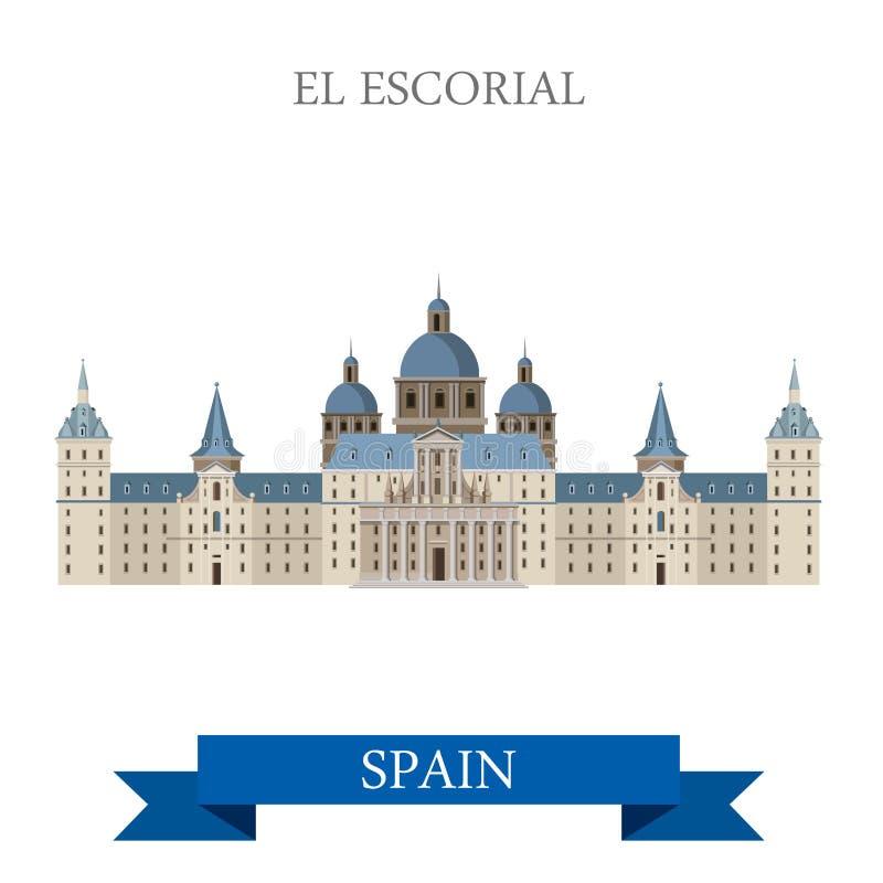 Van de het Kloosterkoning van Gr Escorial de vlakke vector van Residence Madrid Spain royalty-vrije illustratie