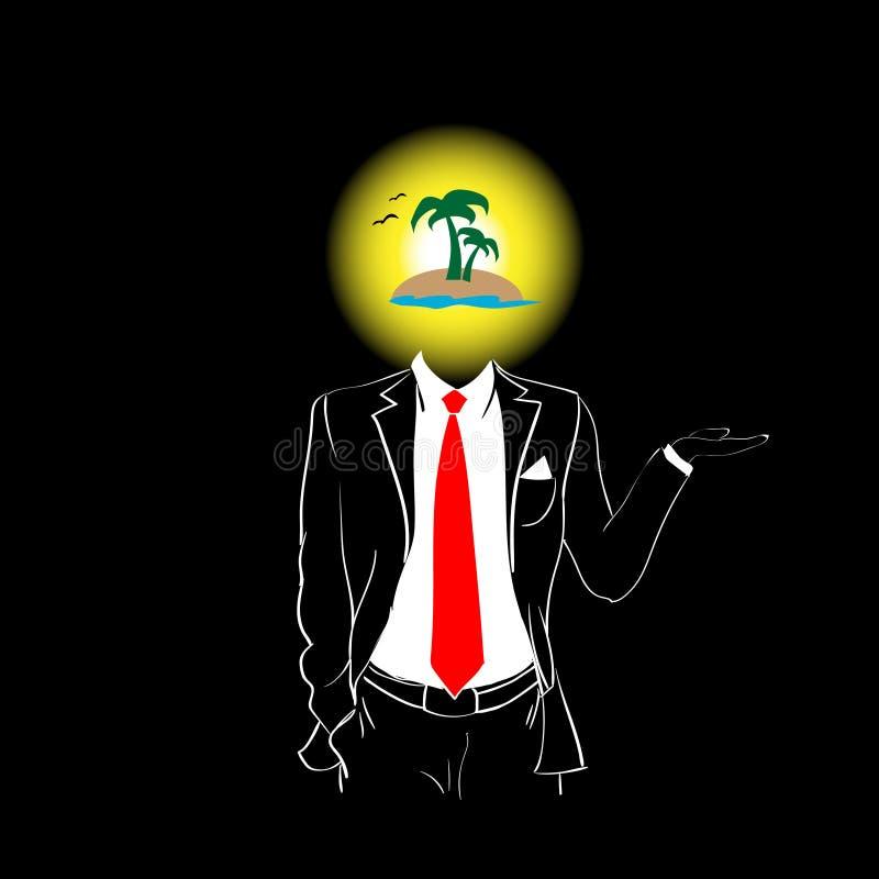 Van de het Kostuum Rood Band van het mensensilhouet van de het Eiland Hoofdzomer Tropisch de Vakantieconcept royalty-vrije illustratie