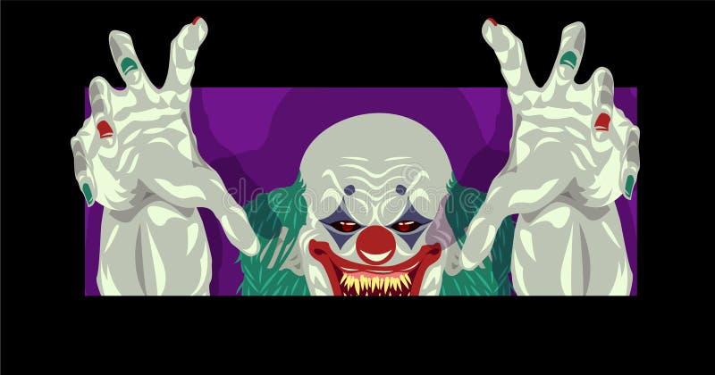Van de het kostuumclown van clownHalloween het vlakke ontwerp vector illustratie