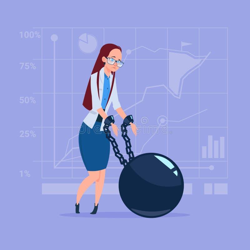 Van de het Kredietschuld van bedrijfsvrouwen het Ketting Verbindende Handen Concept van de de Financiëncrisis royalty-vrije illustratie