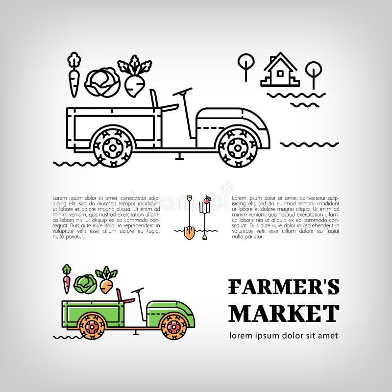 Van de het Landbouwbedrijftractor van de landbouwersmarkt logotype van de het pictogram dunne lijn de kunststijl stock illustratie