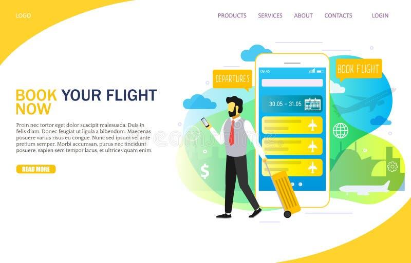 Van de het landingspaginawebsite van de boekvlucht het online vectormalplaatje vector illustratie