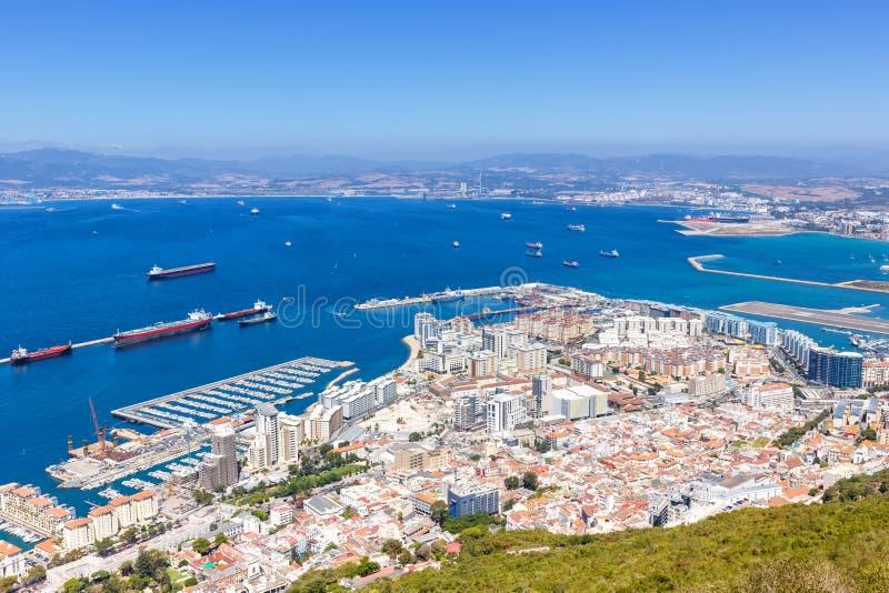Van de het landschapshaven van Gibraltar overzicht van de de reis het reizende stad van de Middellandse Zee stock afbeeldingen