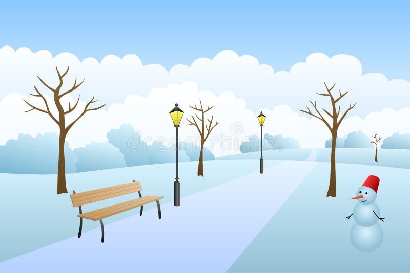 Van de het landschapssneeuw van de parkwinter de dagillustratie royalty-vrije illustratie