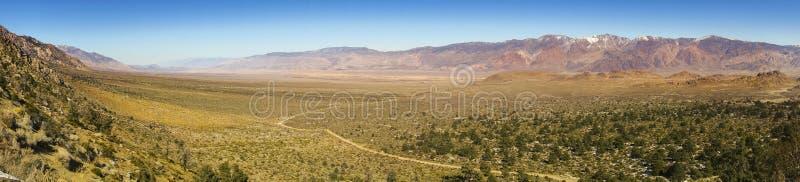 Van de het Landschapsv.s. van de Owensvallei de Panoramische van de de Vlaktes Eenzame Pijnboom Siërra Nevada California royalty-vrije stock foto