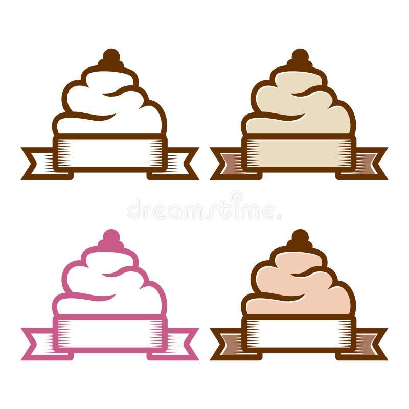 Van de het Lintbanner van de Cupcakeroom het Symbool van het het Embleemkenteken vector illustratie
