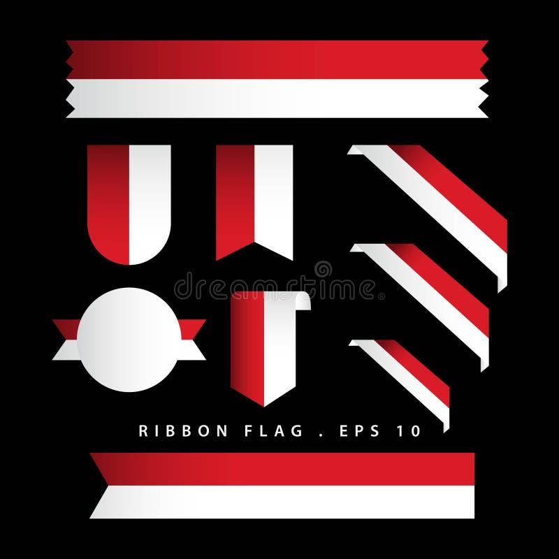Van de het Lintvlag van Indonesië Illustratie van het het Malplaatjeontwerp de Vector vector illustratie