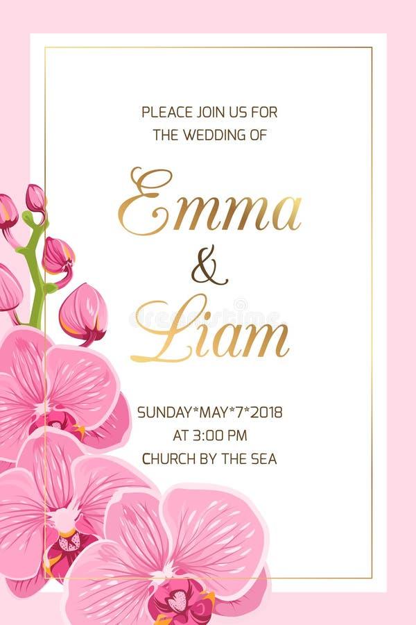 Van de het malplaatje roze orchidee van de huwelijksuitnodiging het kadergoud royalty-vrije illustratie