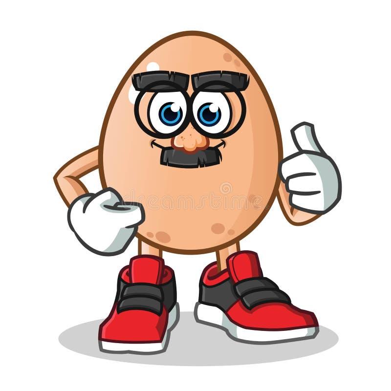 Van de het maskermascotte van het ei grappige gezicht vector het beeldverhaalillustratie vector illustratie