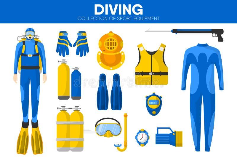 Van de het materiaal snorkelende duiker van de vrij duikensport van de het kledingstukkleding geplaatste de toebehoren vectorpict royalty-vrije illustratie