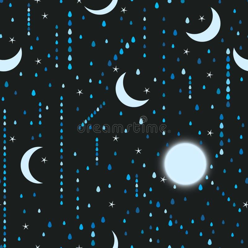 Van de het meisjes zen maan van Japan de regen naadloos patroon stock illustratie