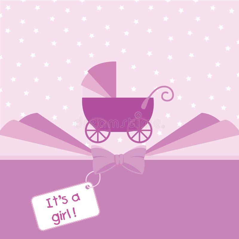 Van de het meisjesaankomst van de baby de aankondigingskaart vector illustratie