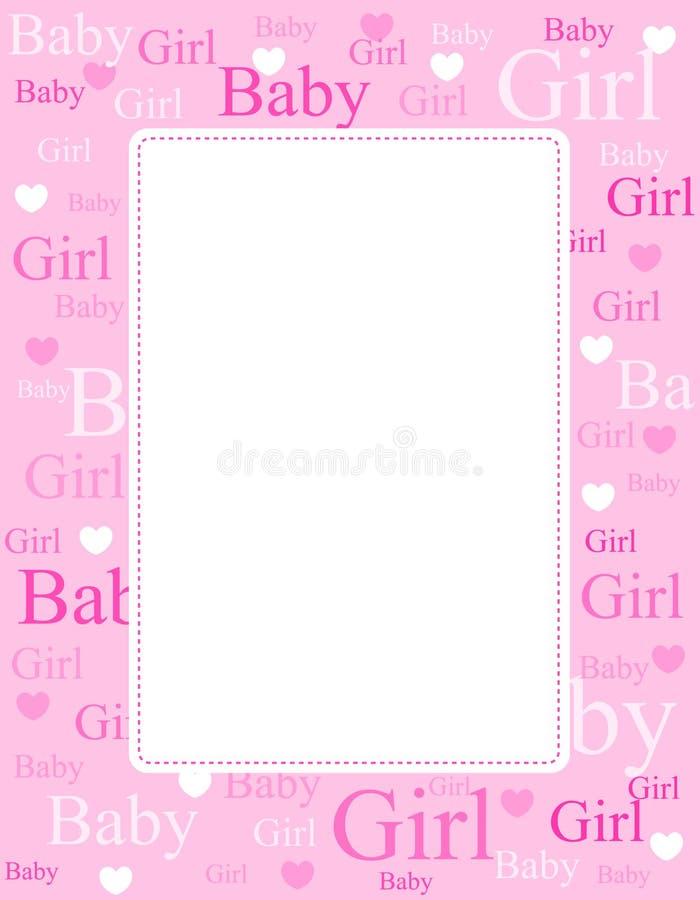 Van de het meisjesaankomst van de baby de kaart/de achtergrond vector illustratie