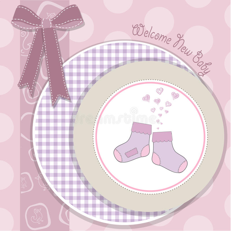 Van de het meisjesdouche van de baby de aankondigingskaart royalty-vrije illustratie
