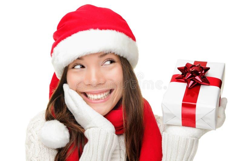 Van de het meisjesholding van de kerstman Kerstmisgift stock afbeeldingen