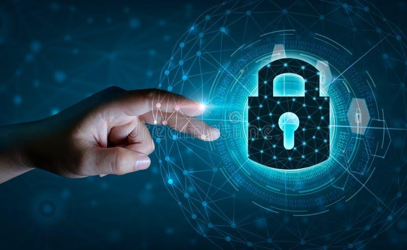 Van de het netwerkplaneet van de aardeveelhoek de de Wereldzakenlieden schudden handen om informatie in cyberspace te beschermen  stock illustratie