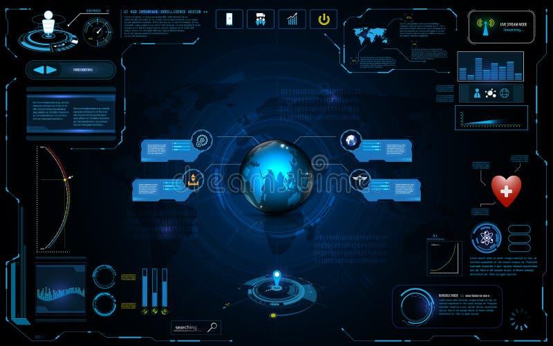 Van de het netwerkverbinding van de Hudinterface het globale van het de innovatieconcept van technologie ontwerp van het het elem vector illustratie