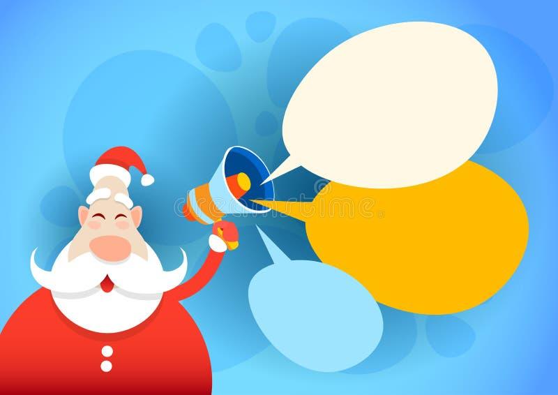 Van de het Nieuwjaarvakantie van Santa Claus Hold Megaphone Empty Copy Ruimte Gelukkige Vrolijke Kerstmis stock illustratie