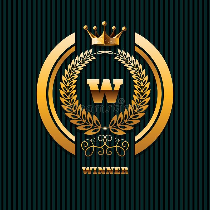 Van de het onroerende goed gouden kroon van het winnaarembleem het embleemmalplaatje eps 10 vector illustratie