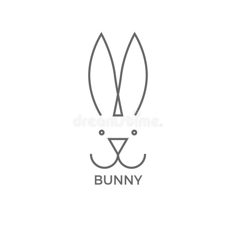 Van de het ontwerp de eenvoudige lijn van het konijntjesembleem vectorillustratie op wit vector illustratie