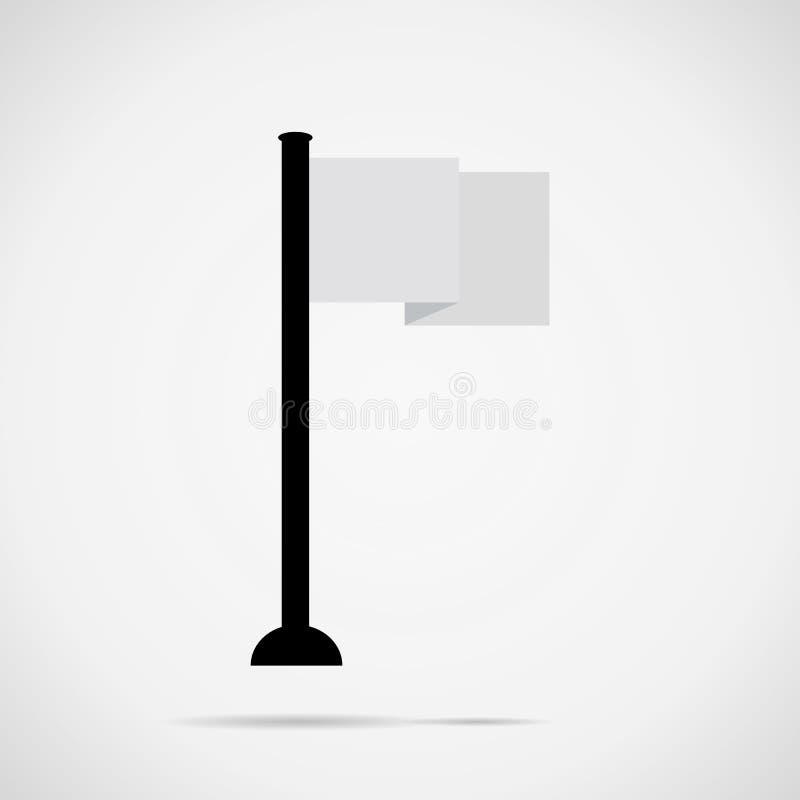 Van de het ontwerp vectortekening van de vlagpool eenvoudige vlakke het ontwerp grijze achtergrond vector illustratie