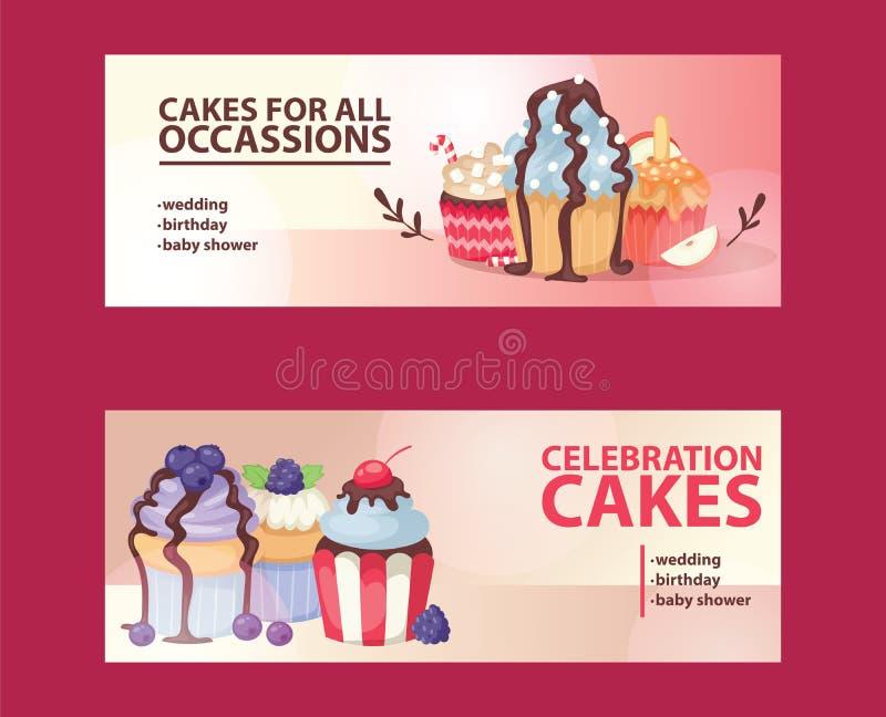 Van de het ontwerpbakkerij van de Cupcakeaffiche van het de cakedessert de kaart vectorillustratie De partij van de muffinvakanti royalty-vrije illustratie