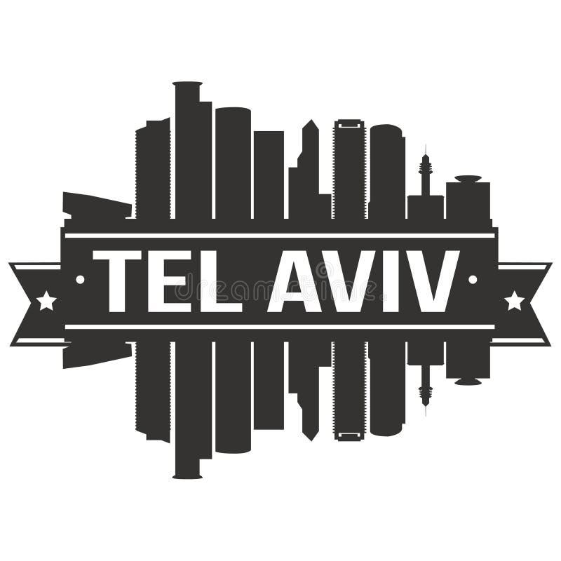Van de het Ontwerphorizon van tel. Aviv Israel Asia Icon Vector Art van het de Stadssilhouet het Vlakke Malplaatje van Editable stock illustratie