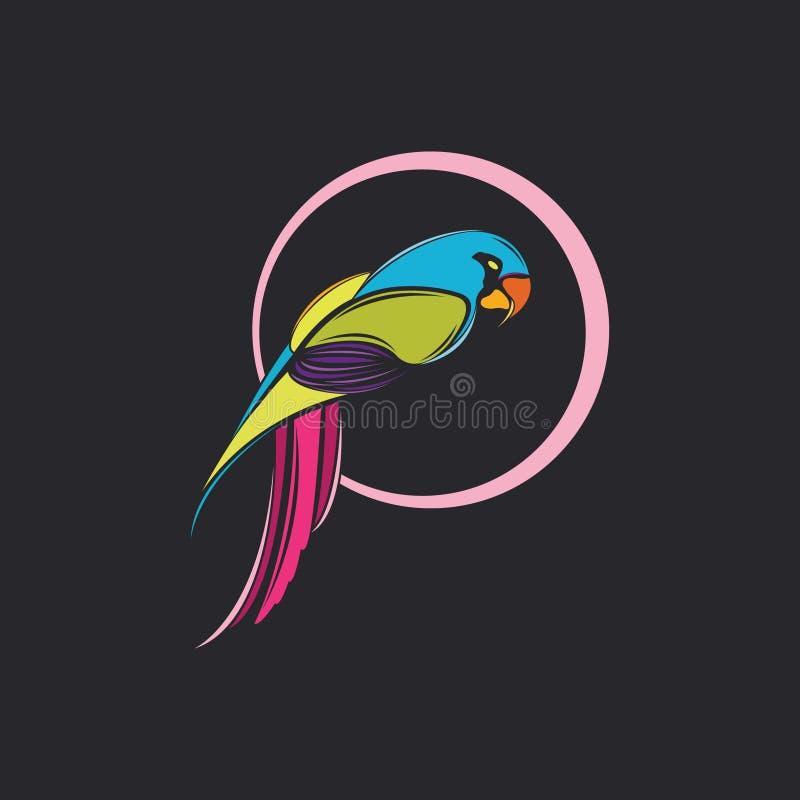 Van de het ontwerpillustratie 2019 van het papegaaiembleem het nieuwe jaar stock illustratie