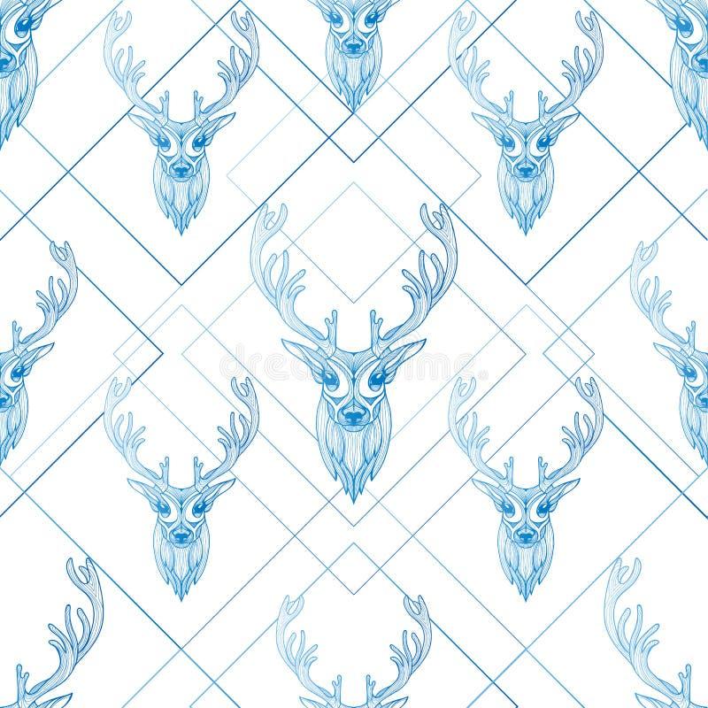 Van de het ontwerpkleur van de herten de grafische illustratie naadloze achtergrond stock foto