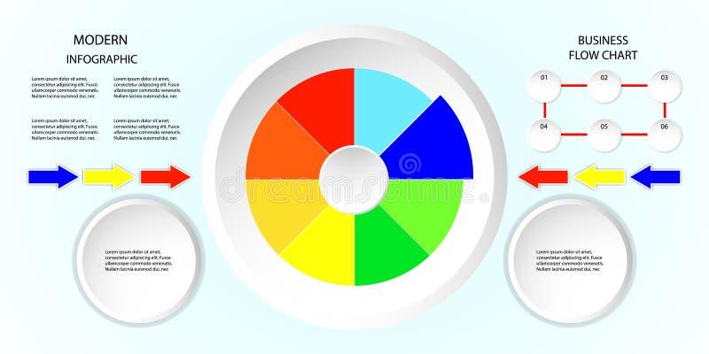 Van de het ontwerpstroom van de bedrijfsinformatiepijl grafische de grafieken vectordieillustratie wit en marketing pictogrammen  royalty-vrije illustratie