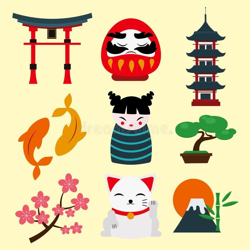 Van de het oriëntatiepuntreis van Japan van de de pictogrammeninzameling reizen de vector van het de cultuurteken het ontwerpelem royalty-vrije illustratie