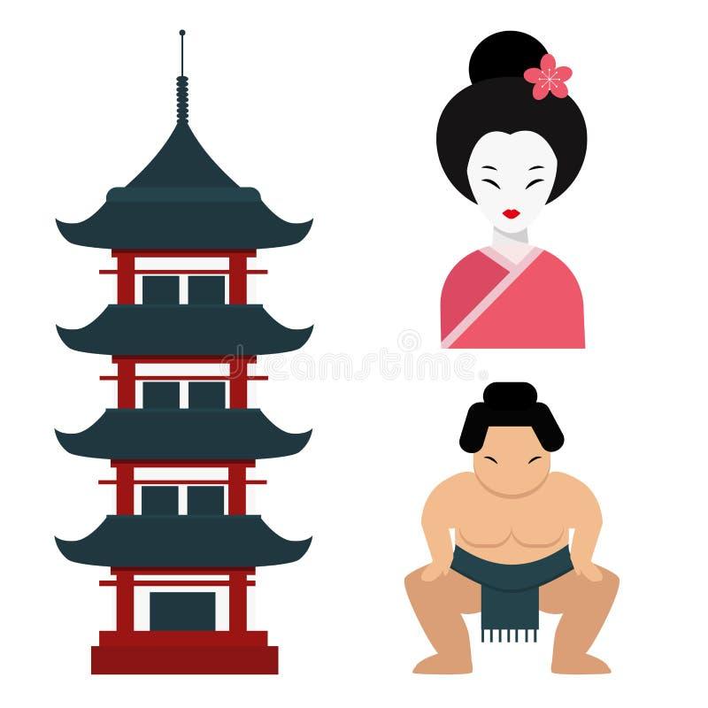 Van de het oriëntatiepuntreis van Japan van de de pictogrammeninzameling reizen de vector van het de cultuurteken het ontwerpelem stock illustratie