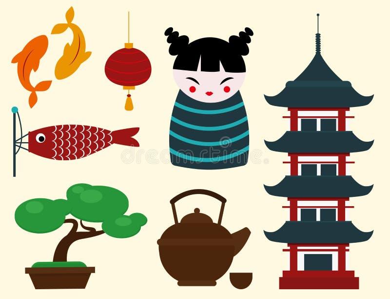 Van de het oriëntatiepuntreis van Japan van de de pictogrammeninzameling reizen de vector van het de cultuurteken het ontwerpelem vector illustratie