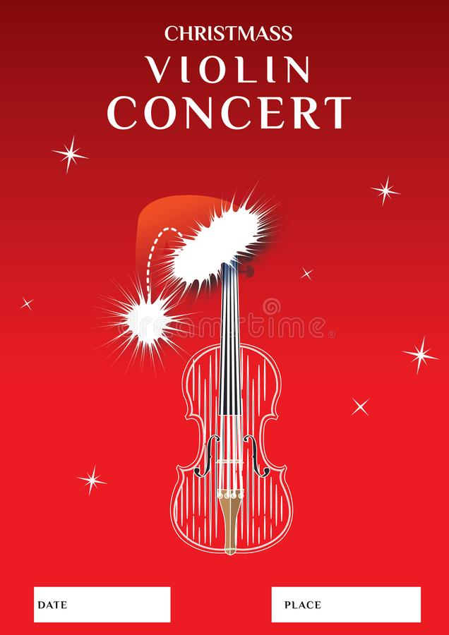 Van de het overlegaffiche van de Christmassviool het ontwerpmalplaatje royalty-vrije illustratie