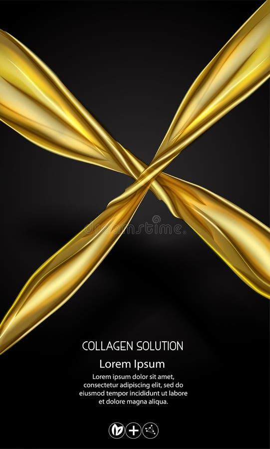 Van de het pakkethuid van de gouden olie kosmetische room de zorgadvertenties Vector van de malplaatje 3d realistische illustrati royalty-vrije illustratie